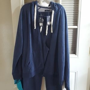 Mens jogging suit, blue with grey